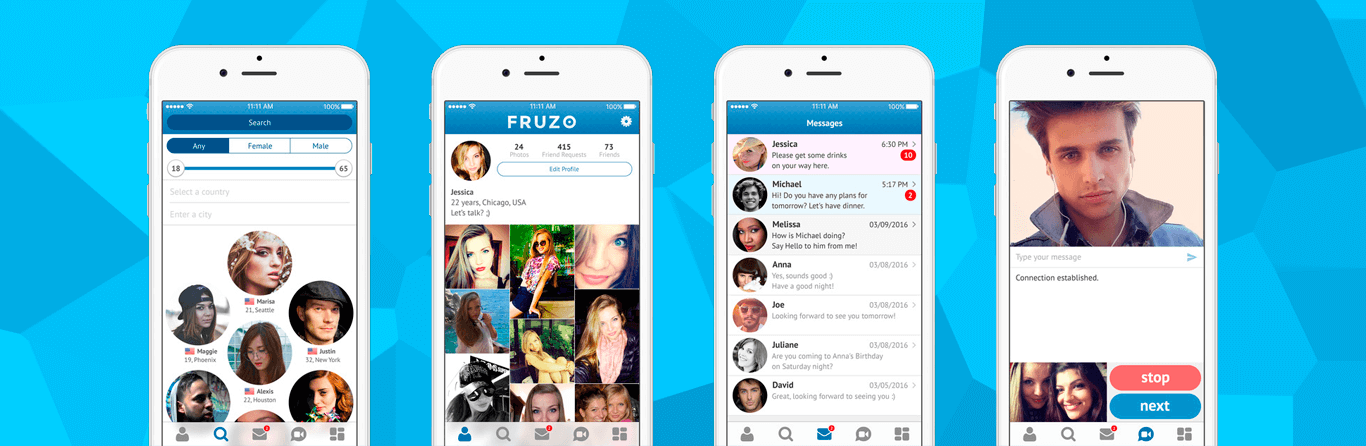 Fruzo app screenshots for press